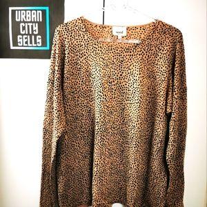 Seed Heritage Animal Print Cheetah Spot Top Sweater Crewneck Women Size Medium